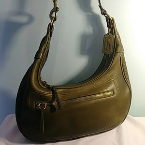 Vintage Leather Coach - Olive Green